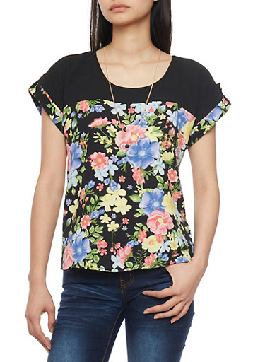 Floral Tabbed Short Sleeve Crepe Knit Top with Necklace,BLACK,large