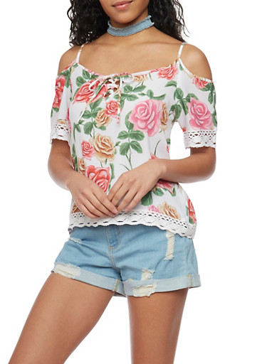 Floral Cold Shoulder Top with Crochet Trim,WHITE,large