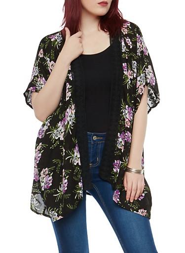 Floral Print Crochet Trim Kimono,BLACK,large
