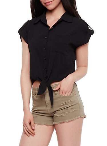 Short Sleeve Button Front Top,BLACK,large