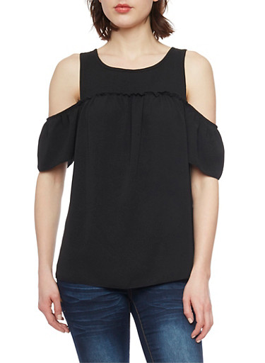 Crepe Knit Short Sleeve Cold Shoulder Top,BLACK,large