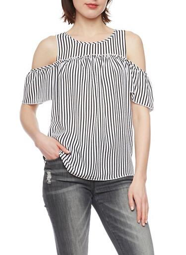 Patterned Cold Shoulder Flutter Sleeve Top,WHT/BLK STRIPE,large