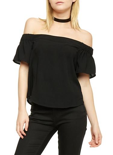Off the Shoulder Short Sleeve Blouse,BLACK,large