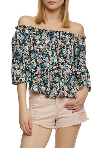 Cropped Off the Shoulder Floral Top with Bell Sleeves,BLACK,large