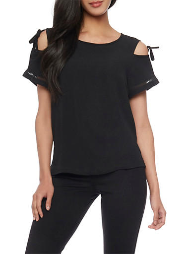 Tied Cold Shoulder Textured Knit Top with Crochet Insert,BLACK,large