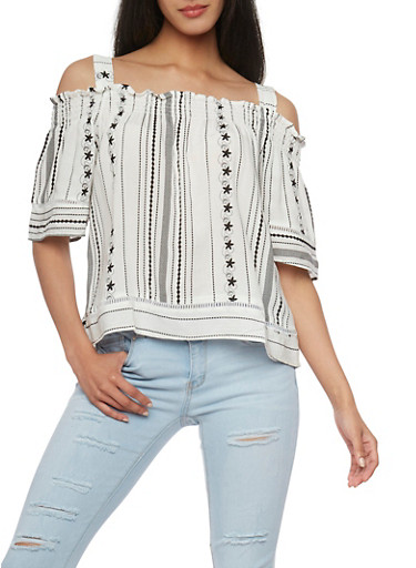 Printed Cold Shoulder Top,WHT-BLK,large