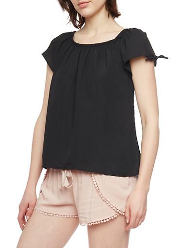 Soft Knit Short Tie Sleeve Peasant Shirt,BLACK,large