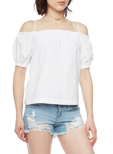 Poplin Cold Shoulder Top with Cinched Sleeves,WHITE,large
