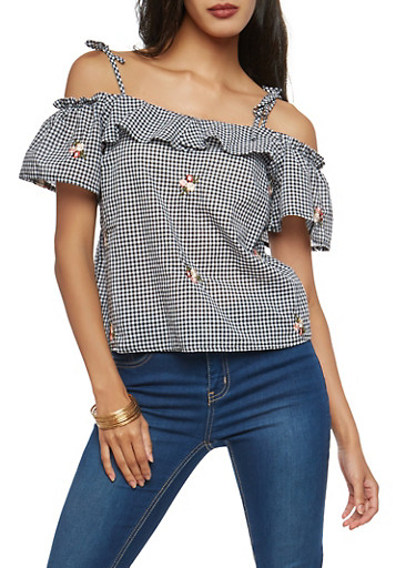 Embroidered Gingham Off the Shoulder Top,BLACK/WHITE,large