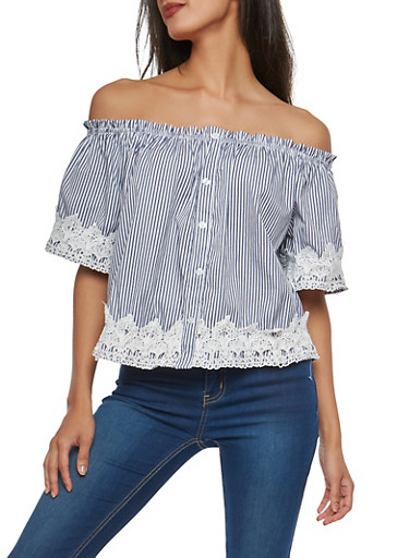 Striped Off the Shoulder Top with Crochet Trim,NAVY/WHT,large