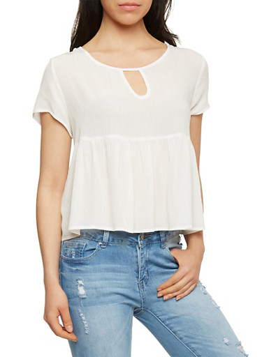 Short Sleeve Gauze Knit Top with Flounce Hem,OFF WHITE,large