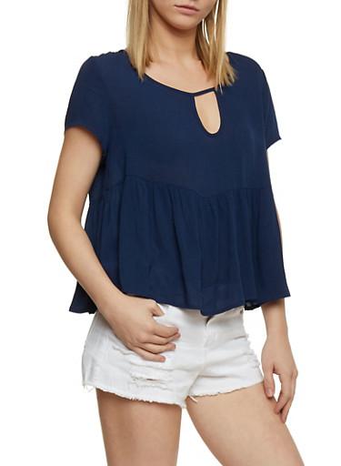 Short Sleeve Gauze Knit Top with Flounce Hem,ECLIPSE,large