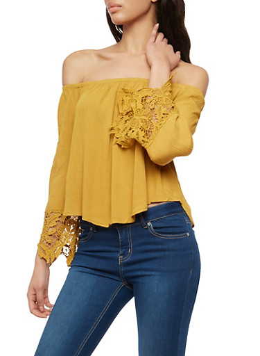 Crinkled Off the Shoulder Top with Crochet Details