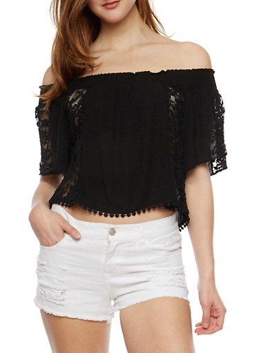 Gauzy Off the Shoulder Lace Trimmed Top,BLACK,large