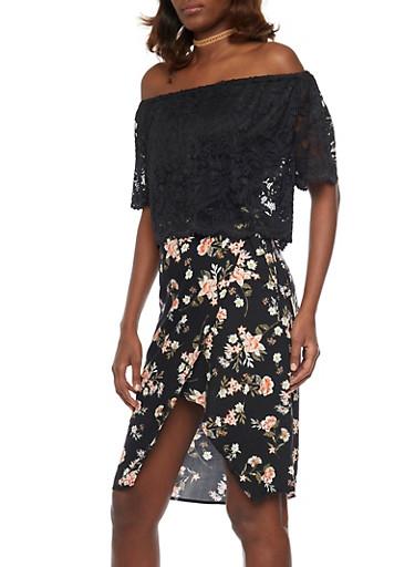 Off Shoulder Lace Crop Top,BLACK,large