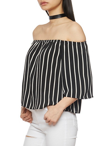Striped Off The Shoulder Stripe Crepe Knit Top,BLACK/WHITE,large
