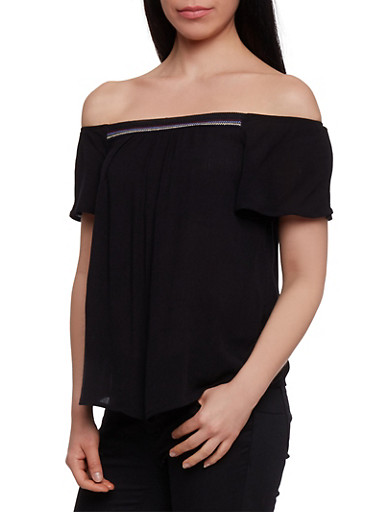 Crepe Knit Off the Shoulder Top with Embroidered Detail,BLACK,large