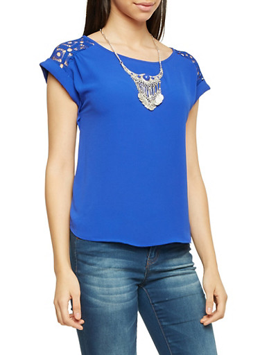 Short Sleeve Top with Crochet Panels and Necklace,RYL BLUE,large