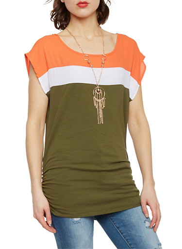 Short Sleeve ColorBlock Top with Necklace,BURNT ORANGE/WHT/OLIVE,large