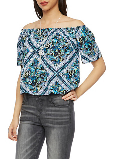 Off The Shoulder Top in Paisley Print with Necklace,BLACK,large