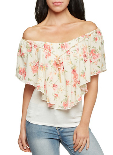 Off The Shoulder Top with Floral Panel and Necklace,IVORY,large
