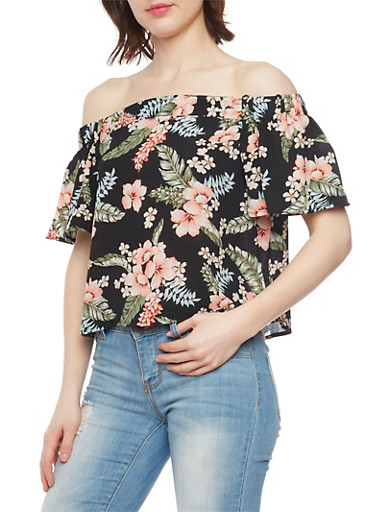 Floral Crepe Off the Shoulder Blouse with Short Sleeves,BLACK/CORAL,large