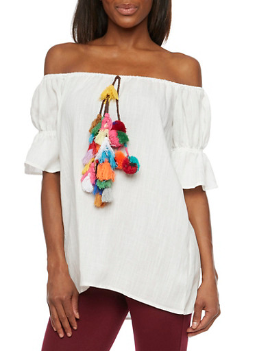 Off the Shoulder Peasant Top with Pom Pom Tassels,IVORY,large
