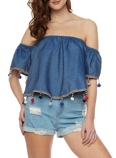 Off the Shoulder Chambray Top with Multicolored Pom Pom Trim,DENIM,large
