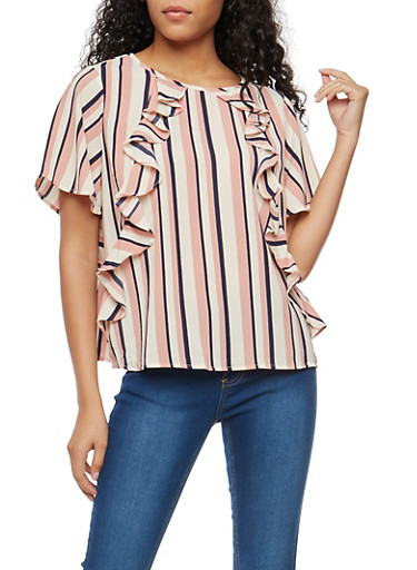 Striped Ruffle Blouse with Tie Back Keyhole,MAUVE/NAVY,large