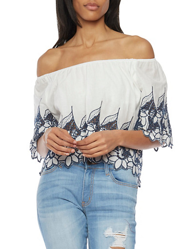 Embroidered Off The Shoulder Peasant Top,WHITE/NAVY,large