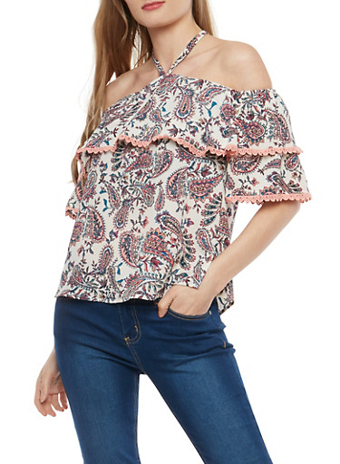 Crepe Knit Paisley Print Off the Shoulder Top,IVORY,large