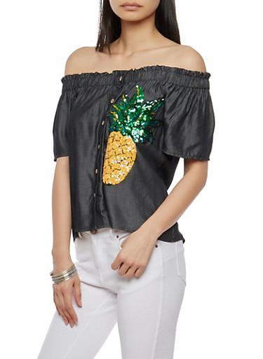 Pineapple Sequin Off the Shoulder Top,BLACK,large