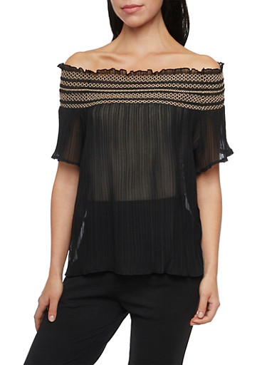 Off The Shoulder Top with Pleats and Contrast Smocking,BLACK,large