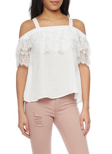 Off The Shoulder Top with Lace Sleeves,IVORY,large
