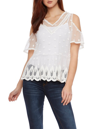 Mesh Lace Top with Cold Shoulder Cutouts,IVORY,large