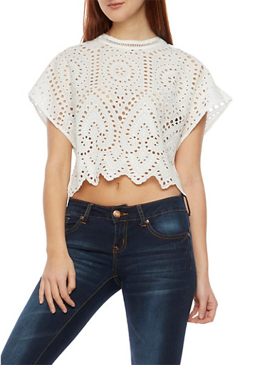 Eyelet Crop Top with Cutout Back and Tassels,WHITE,large