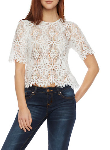 Crochet Top with Zip Back,IVORY,large