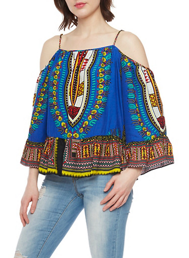 Long Sleeve Cold Shoulder Dashiki Print Top with Ruffle Trim,RYL BLUE,large