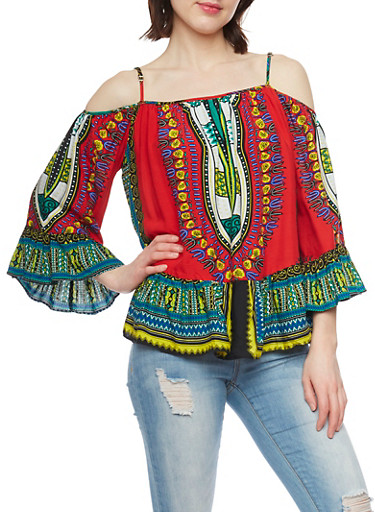 Long Sleeve Cold Shoulder Dashiki Print Top with Ruffle Trim,RED,large