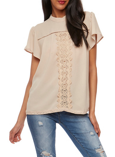 Crepe Knit Top with Crochet Detail,MOCHA,large