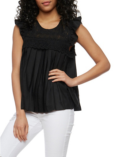 Pleated Baby Doll Top with Crochet Yoke,BLACK,large