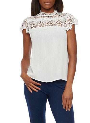 Top with Lace Panel,WHITE,large