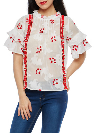 Pom Pom Tiered Sleeve Top,WHITE/RED,large
