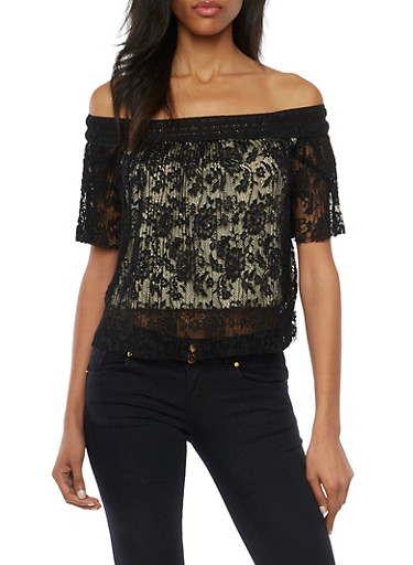 Off the Shoulder Top in Pleated Lace,BLACK,large