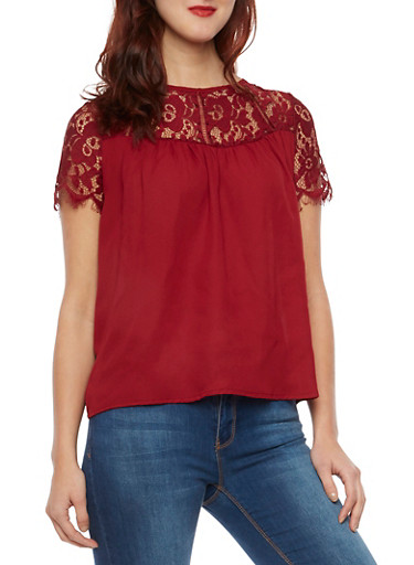 Top with Lace Panel,BURGUNDY,large