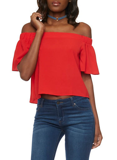 Crepe Knit Off the Shoulder Top with Flutter Sleeves,RED,large