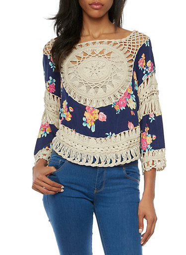 Floral Print Top with Crochet Paneling,NAVY,large