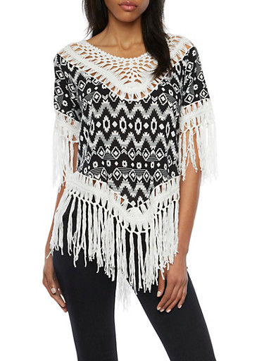 Aztec Print Top with Crochet Trim and Fringe,BLACK/WHITE,large