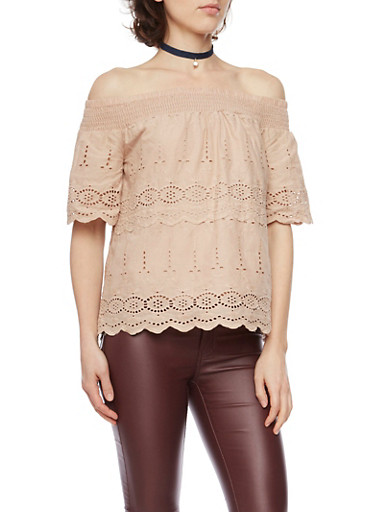 Off the Shoulder Crochet Top with Straps,MOCHA,large