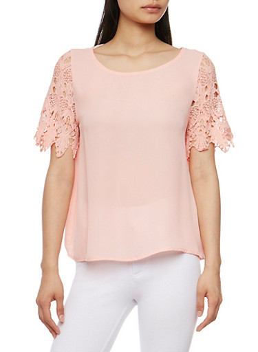 Scoop Neck Top with Crochet Short Sleeves,BLUSH,large